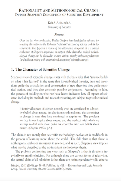 Rationality and Methodological Change